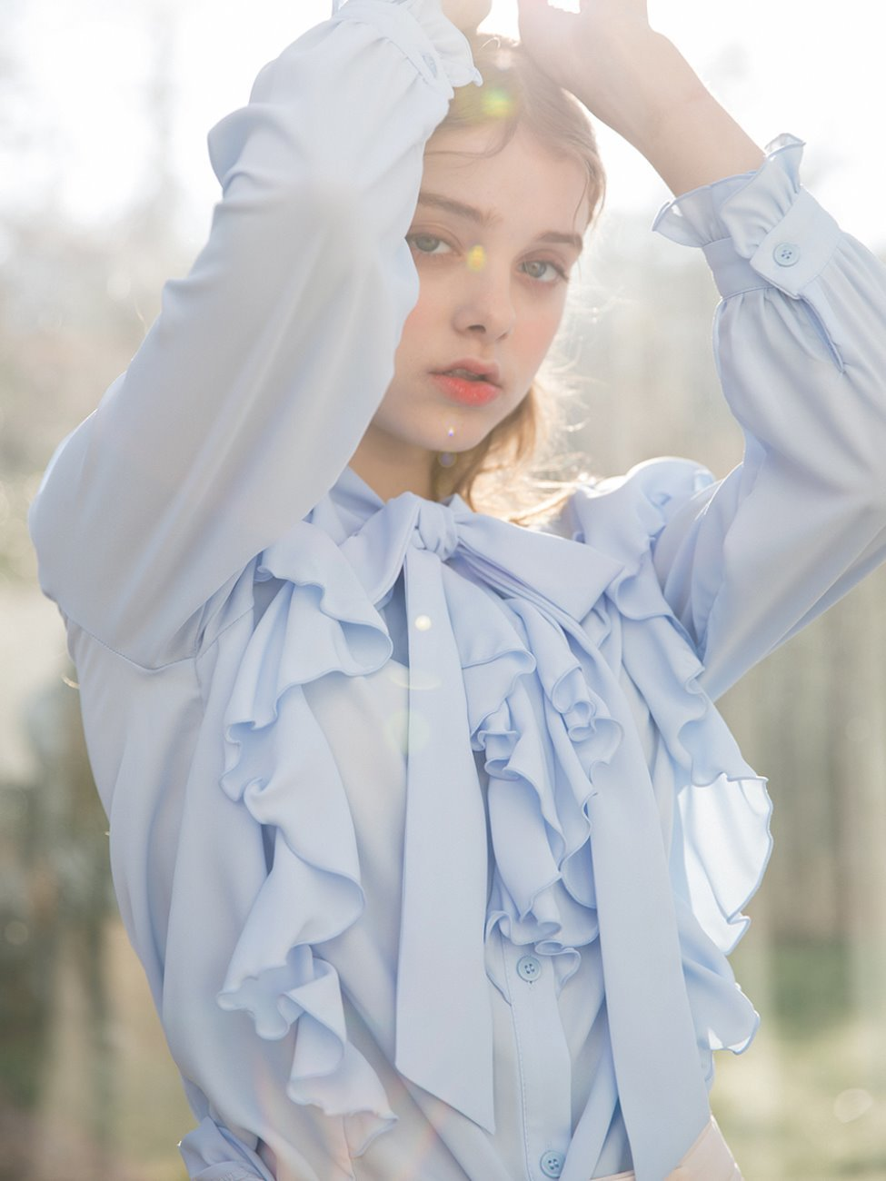 Pure Ruffle Tie Blouse Sky