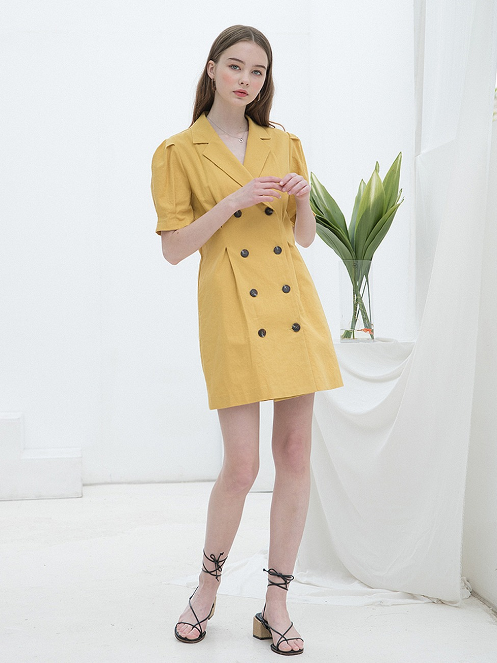 Linen Puff Jacket Dress