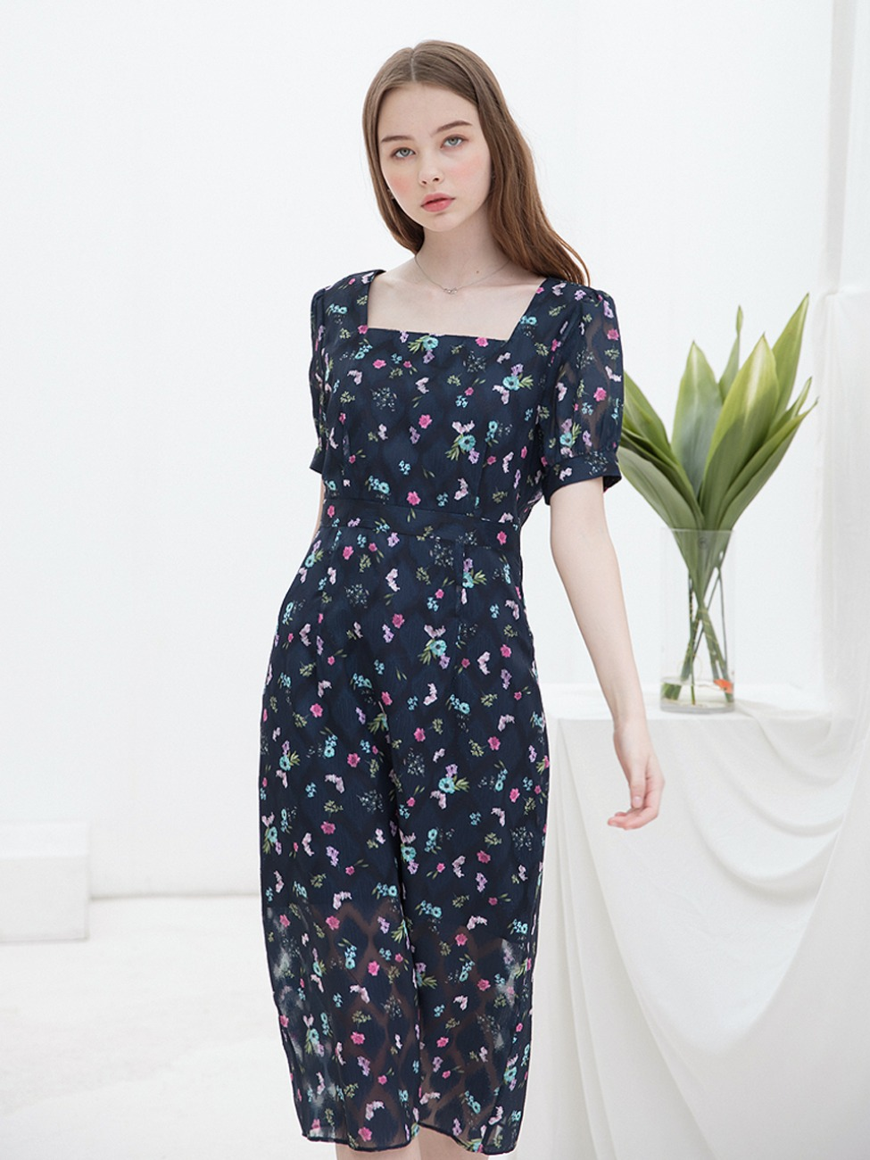 Square Tuck Dress Navy