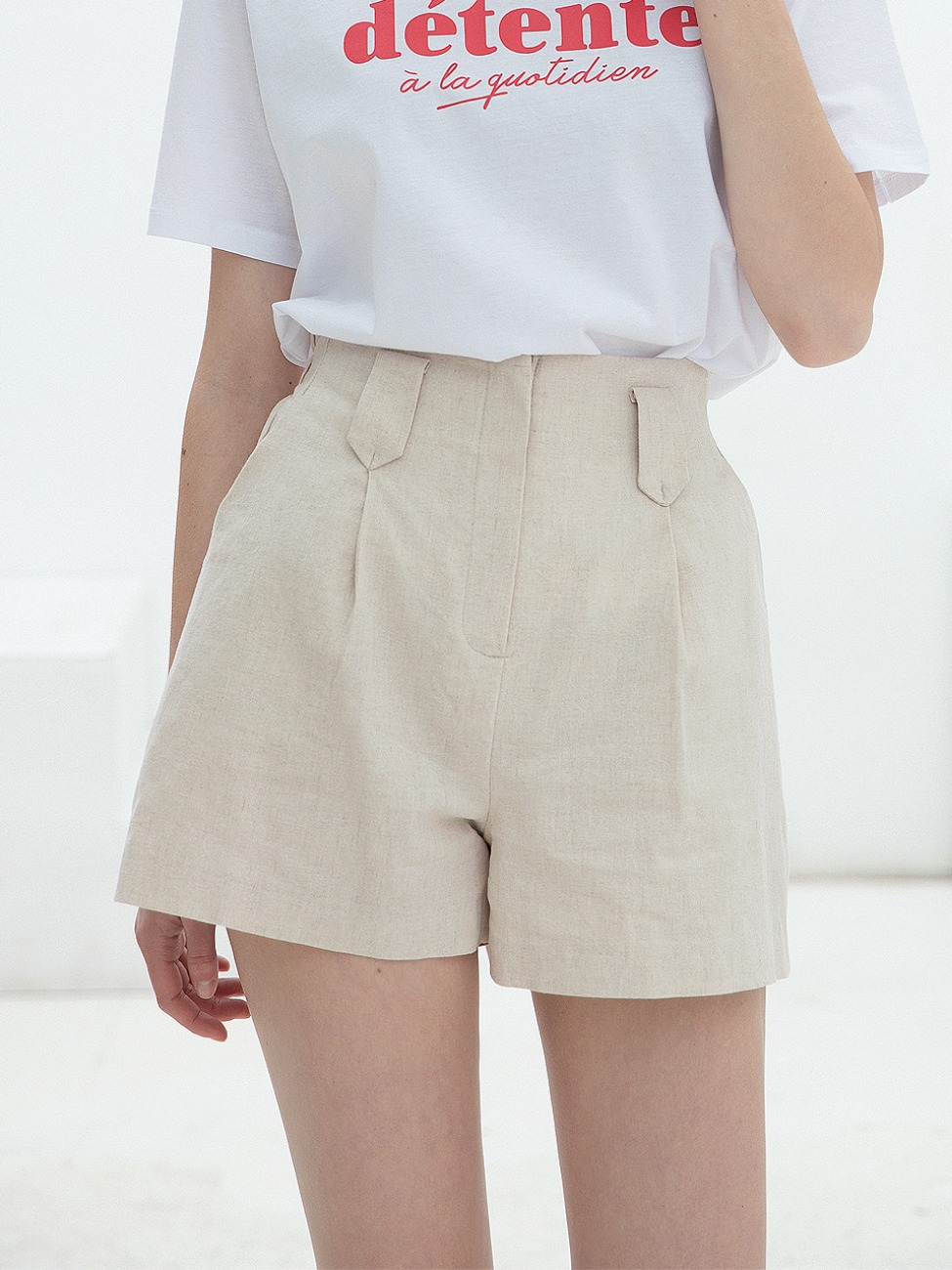 Linen Band Half Pants Beige