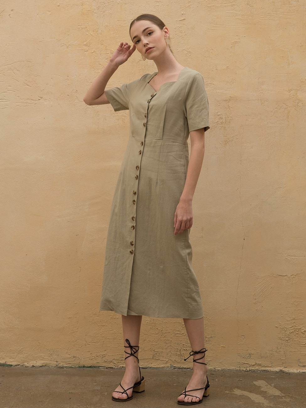 Linen Heart Neck Dress Khaki
