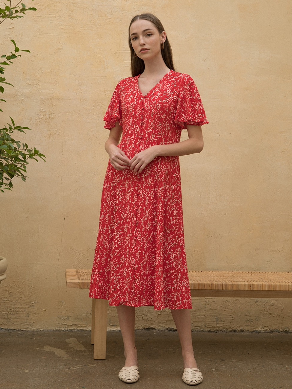 Floral Robe Dress Red