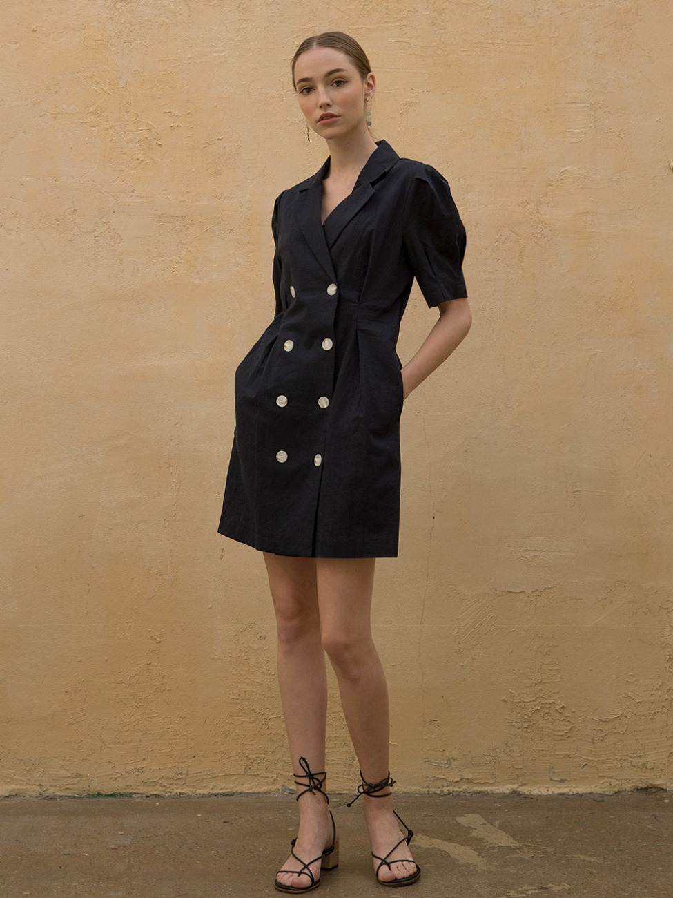 Linen Puff Jacket Dress Navy