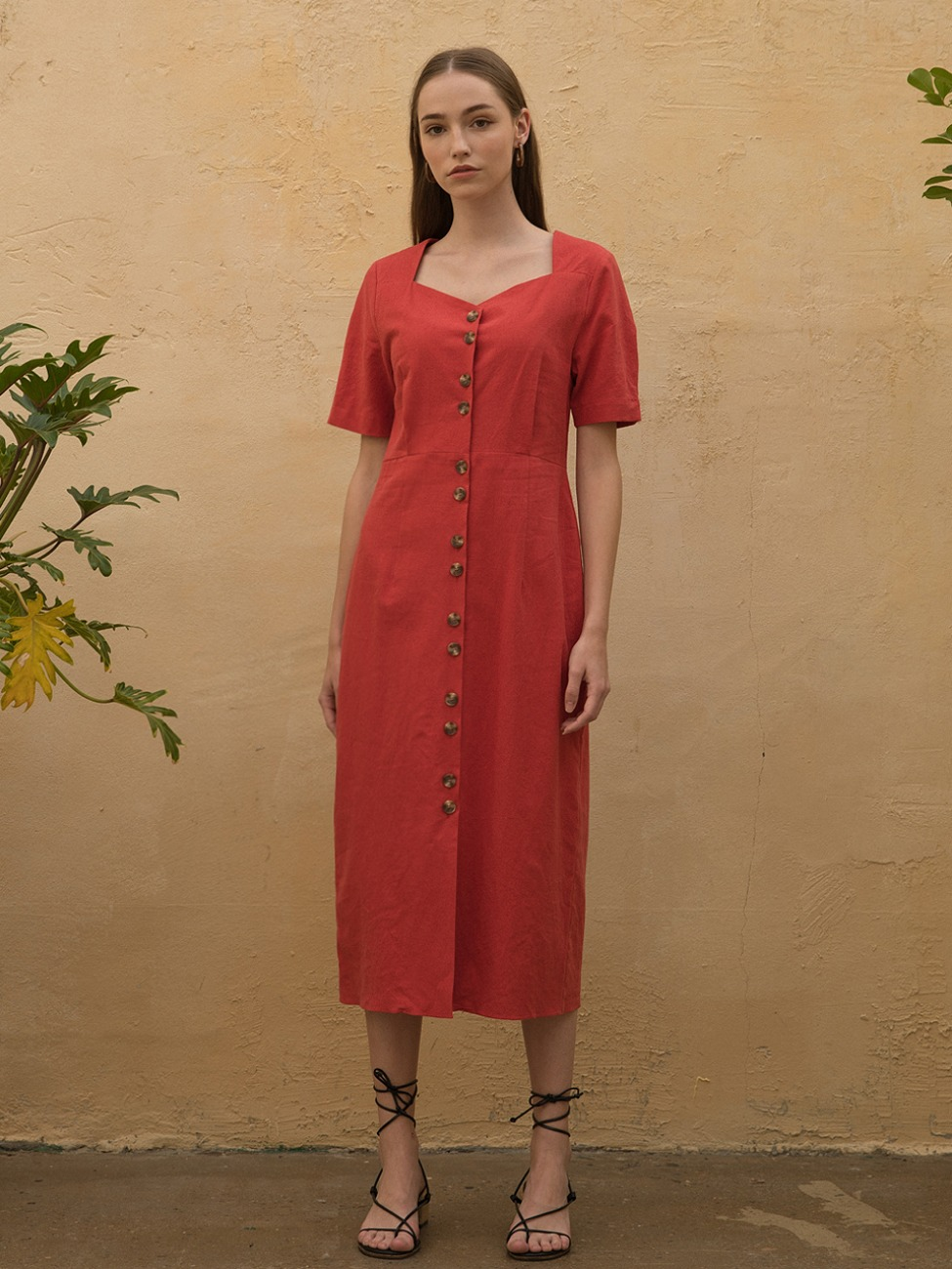 Linen Heart Neck Dress Red