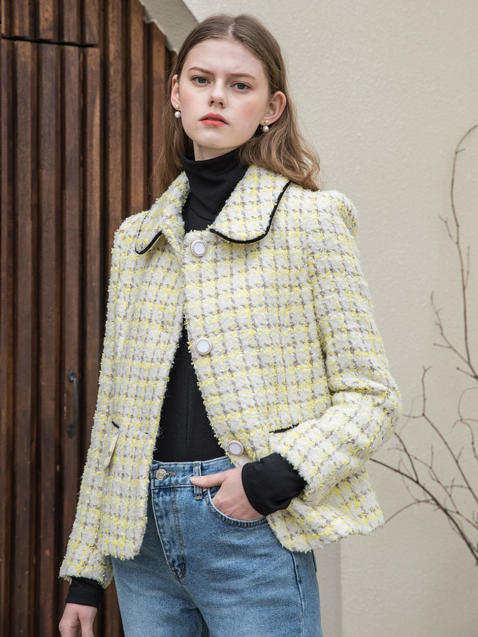 Classic Tweed Crop Jacket Yellow