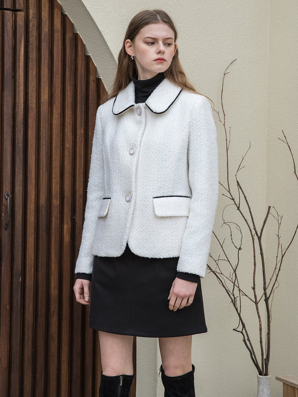 Classic Tweed Crop Jacket White