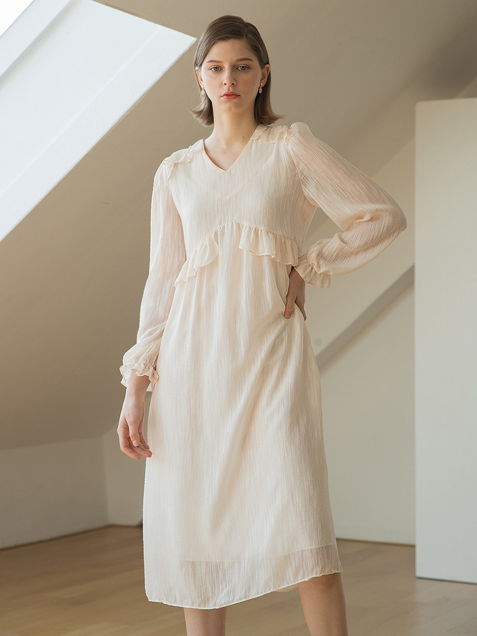 Embo Frill Dress Cream
