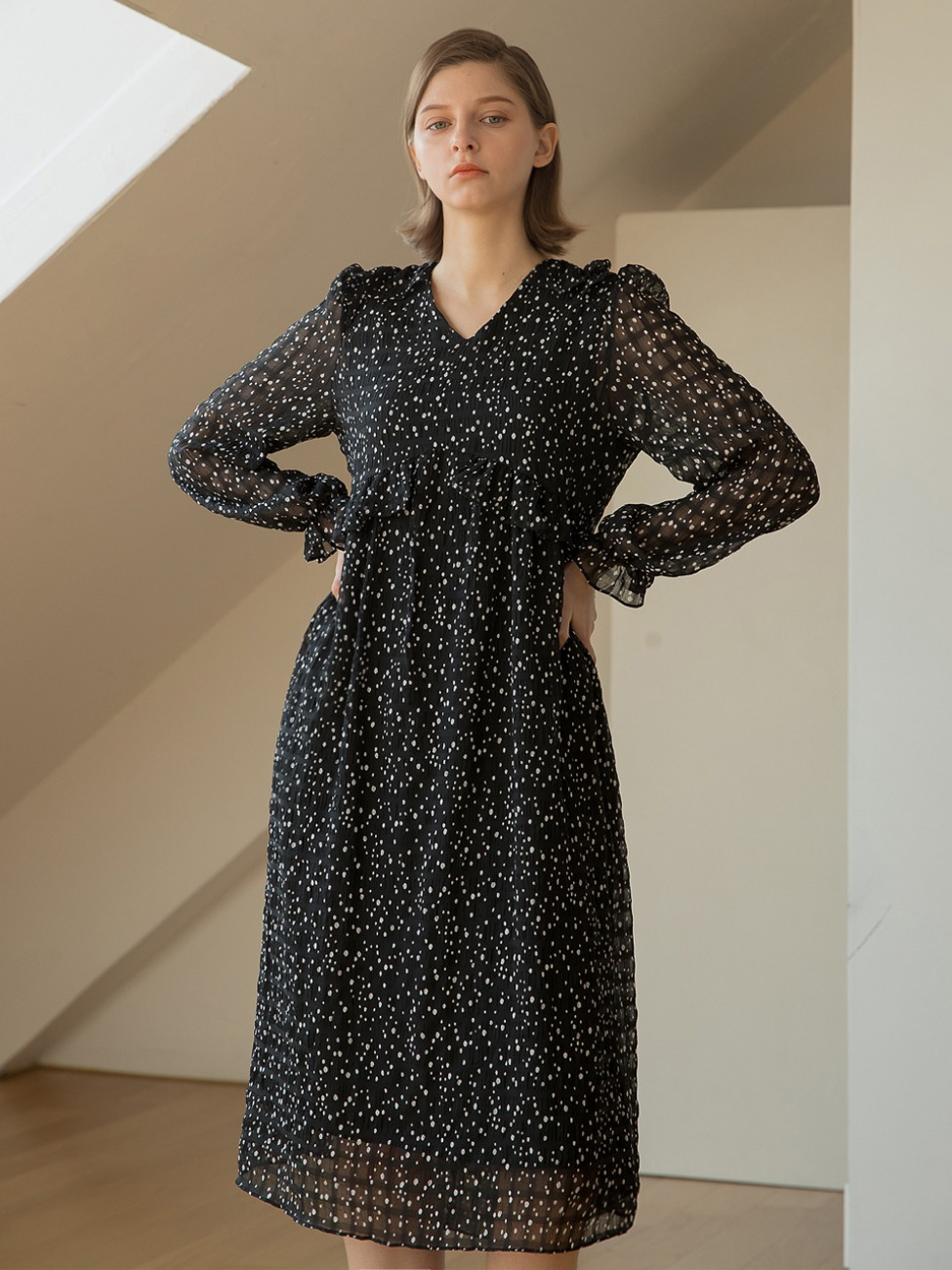 Embo Frill Dot Dress Black
