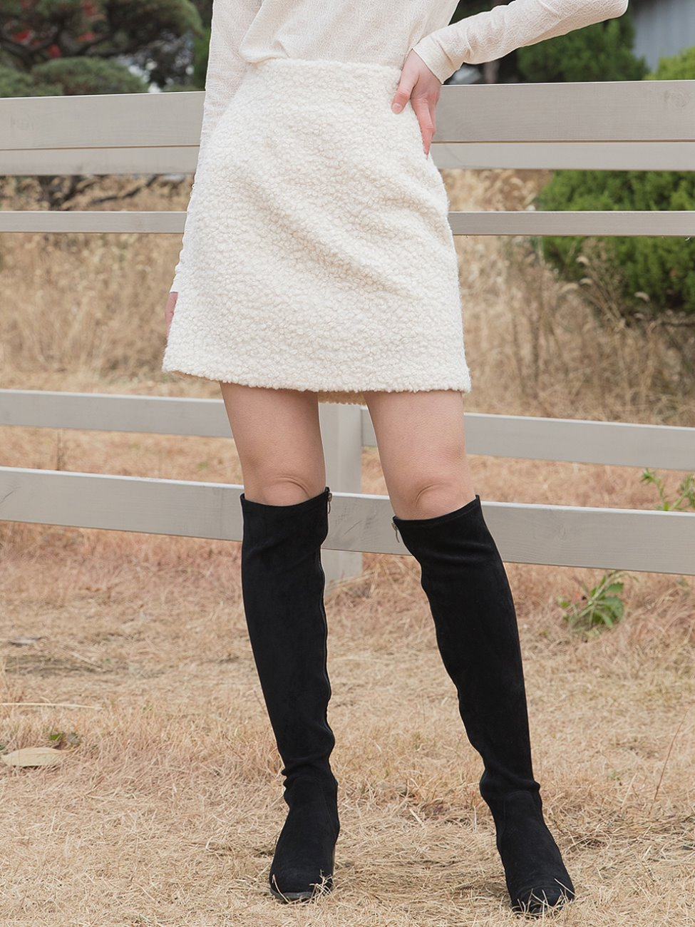 Boucle Band Skirt Cream