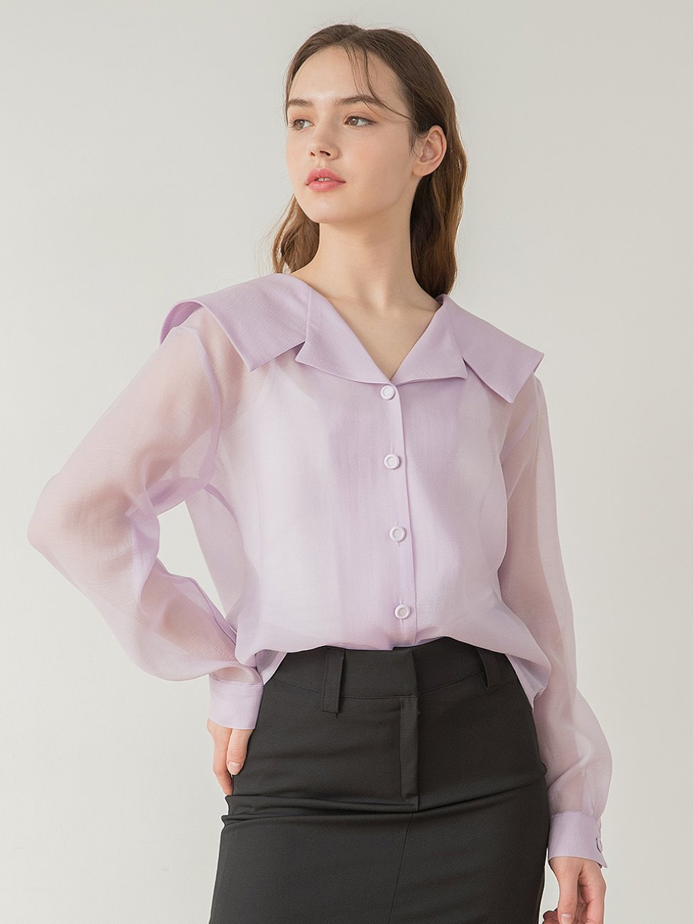 Sailor Collar Button Blouse Purple