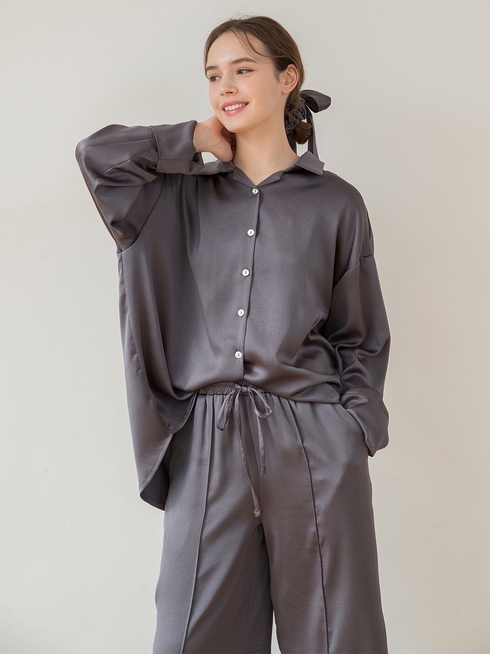 Satin Pajamas Charcoal