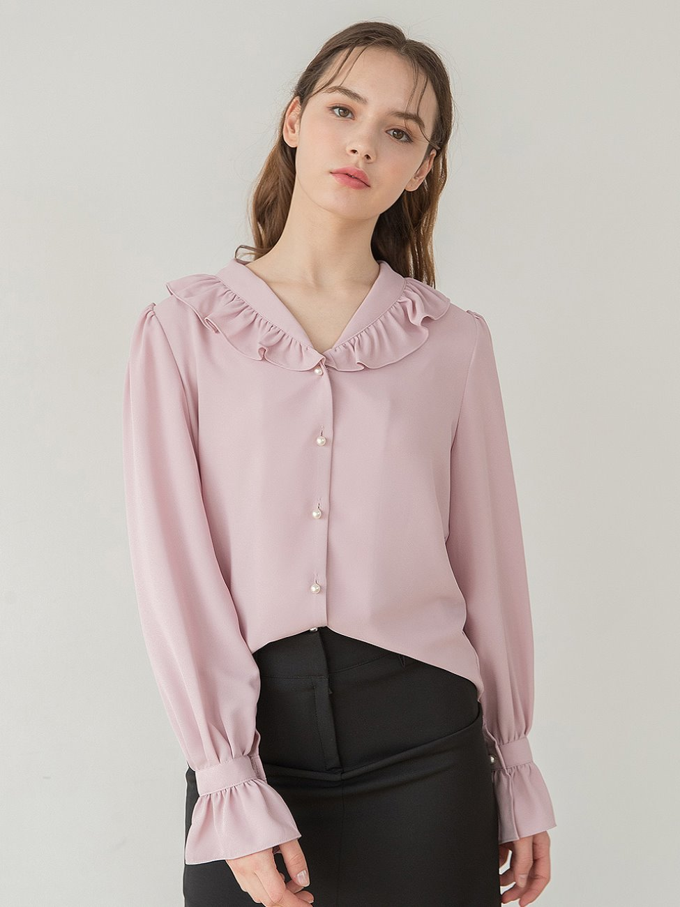 Shawl Collar V Neck Blouse Pink